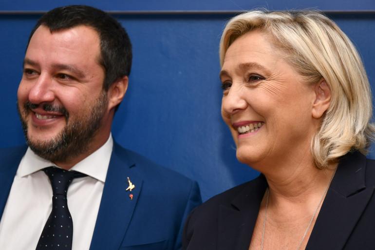 Matteo Salvini, le premier ministre italien et Marine Le Pen, en Italie