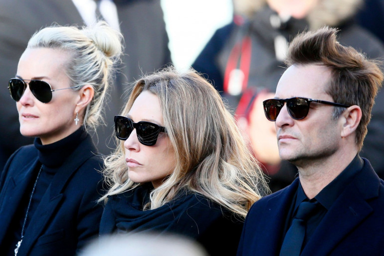 Laetiticia Hallyday, Laura Smet, David Hallyday lors de l'hommage national à Johnny le 9 décembre 2017
