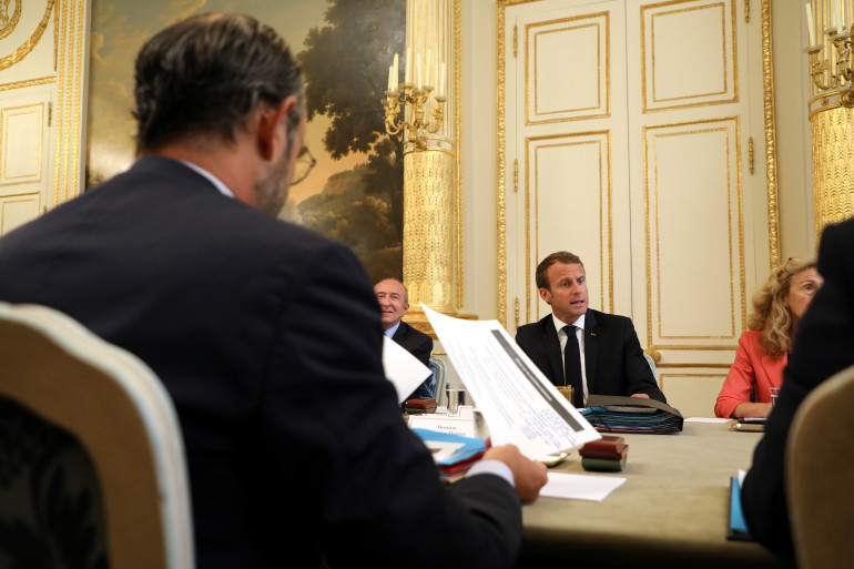 Emmanuel Macron face à Édouard Philippe durant le Conseil des ministres, le 5 septembre 2018 à l'Élysée