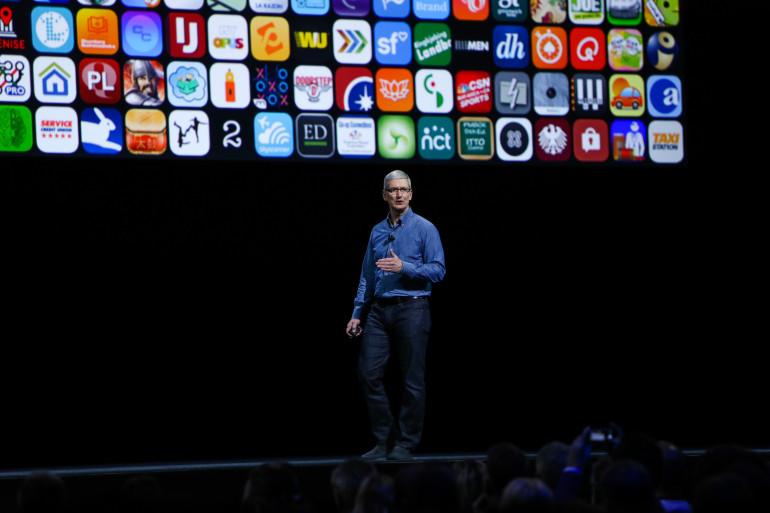 Le président d'Apple Tim Cook lors d'un précédent Keynote