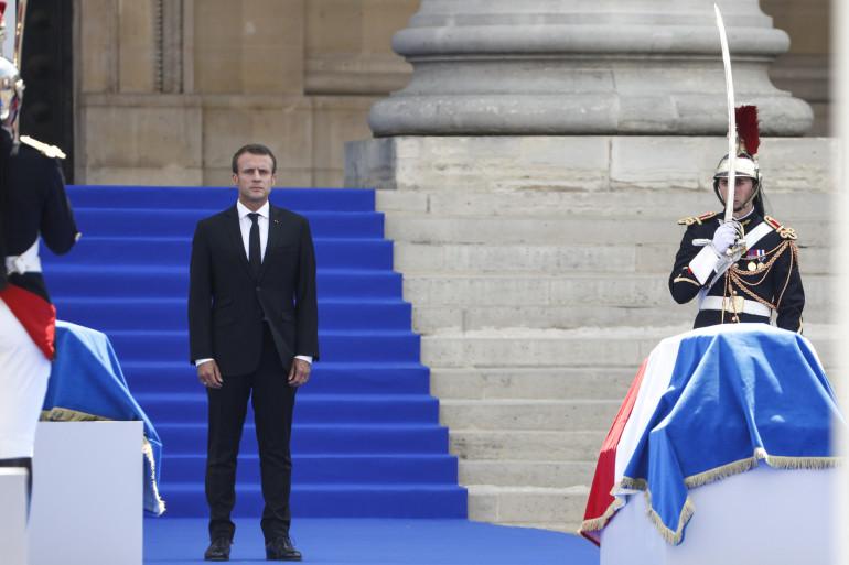 Emmanuel Macron devant le Panthéon le 1er juillet 2018.