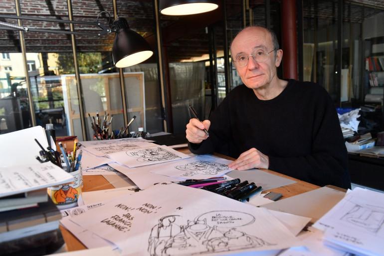 Philippe Geluck dans son atelier de Bruxelles, le 8 novembre 2018.