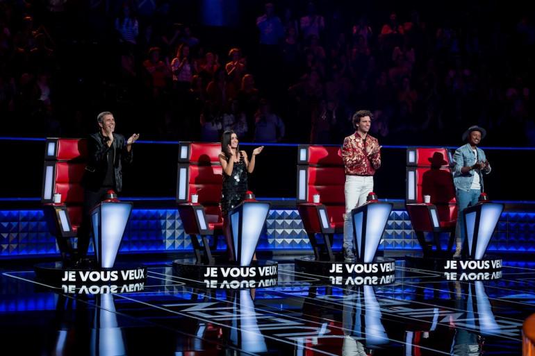 """Julien Clerc, jenifer Mika et Soprano lors de la première journée de tournage de la saison 8 de """"The Voice"""""""