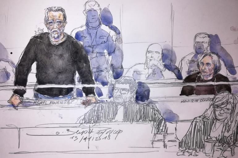 Croquis du procès de Michel Fourniret, le 13 novembre 2018.