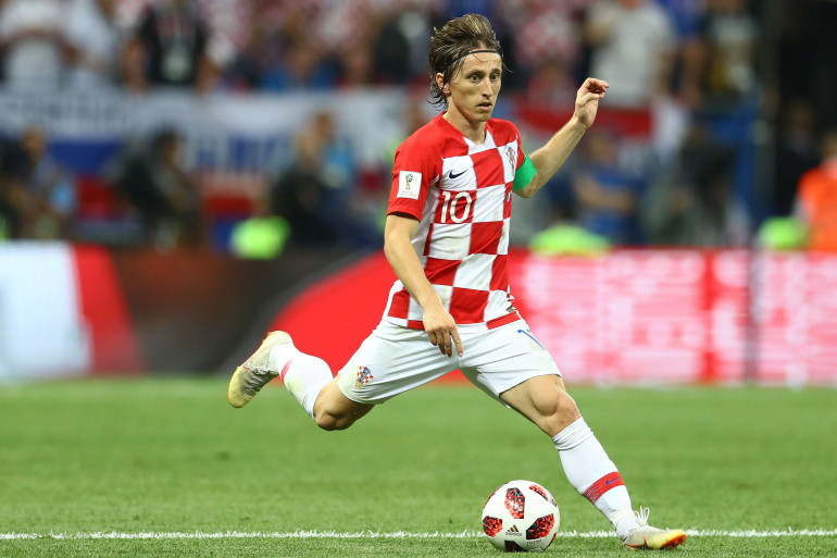 Luka Modric sous les couleurs de la Croatie le 15 juillet 2018 à Moscou