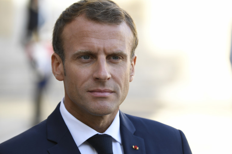 Emmanuel Macron devant l'Élysée, le 17 septembre 2018