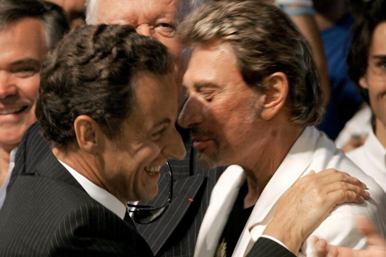 Johnny Hallyday lors d'un meeting de Nicolas Sarkozy à Marseille, en septembre 2006