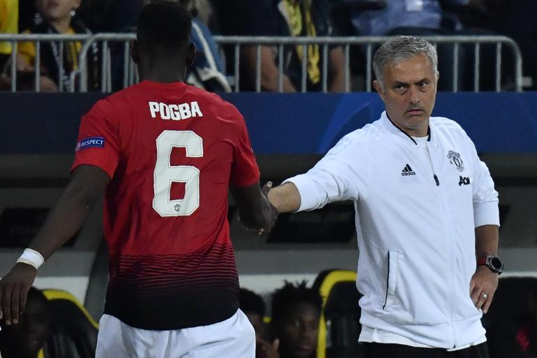 Paul Pogba et José Mourinho sous les couleurs de Manchester United le 19 septembre 2018