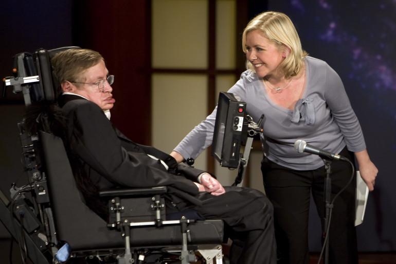 Stephen Hawking et sa fille Lucy aux 50 ans de la NASA en 2008