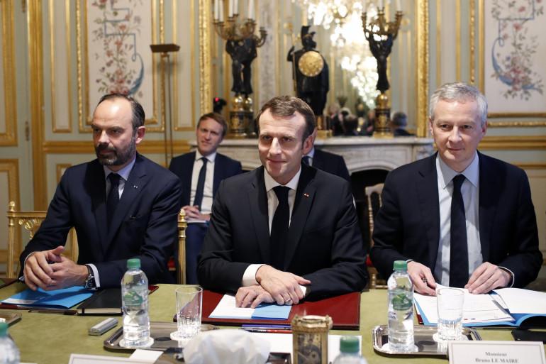 Édouard Philippe, Emmanuel Macron et Bruno Le Maire, le 11 décembre 2018