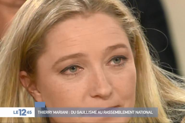 Marine Le Pen lors d'un débat télévisé face à Thierry Mariani