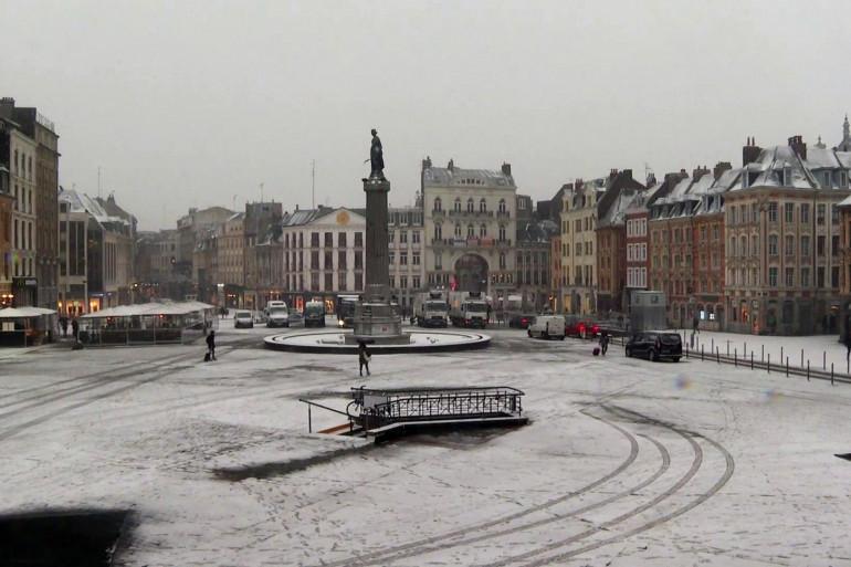 La neige s'est abattue à Lille mardi 22 janvier 2019