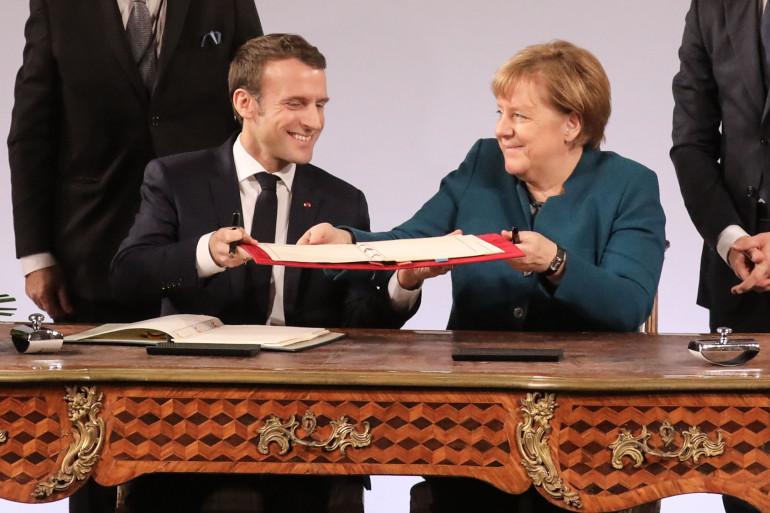 Emmanuel Macron et Angela Merkel à Aix-la-Chapelle le 22 janvier 2019