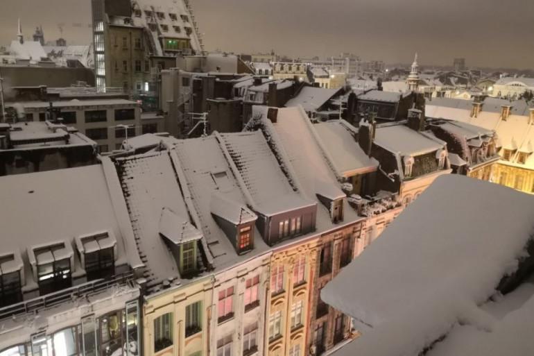 Les toits de Lille sous la neige au matin du 23 janvier