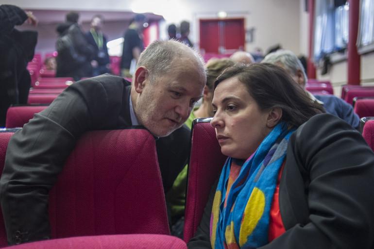 Emmanuelle Cosse aux côtés de son mari Denis Baupin, à Belleville en 2014