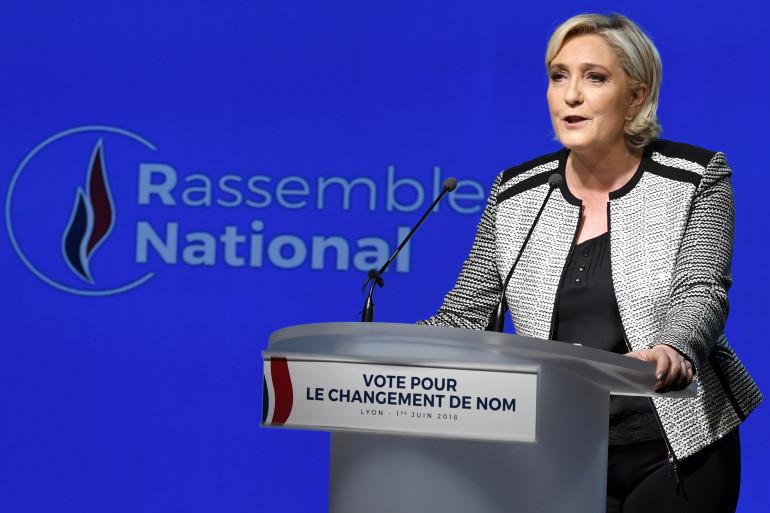 Marine Le Pen lors d'un congrès du Rassemblement national