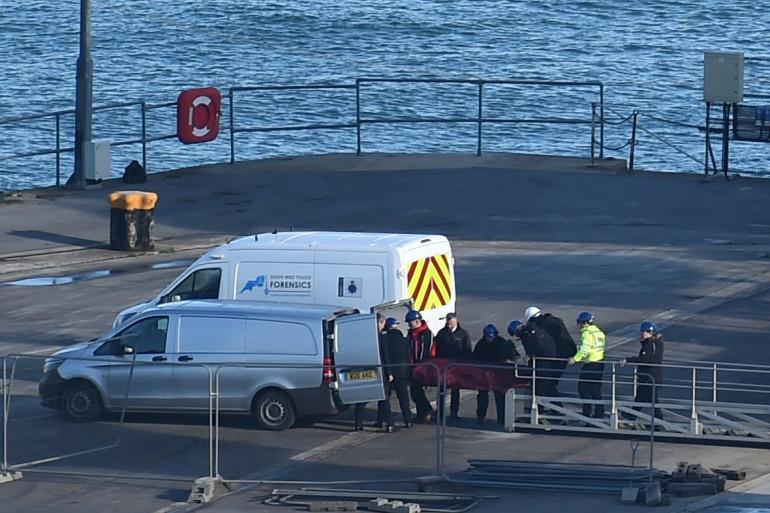 Le corps d'Emiliano Sala à Weymouth, en Angleterre, le 7 février 2019
