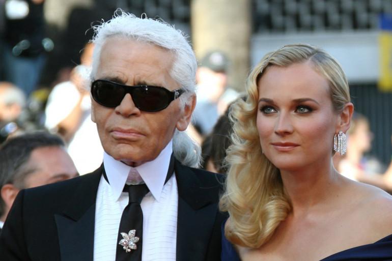 Karl Lagerfeld et Diane Kruger, lors du Festival de Cannes de mai 2007