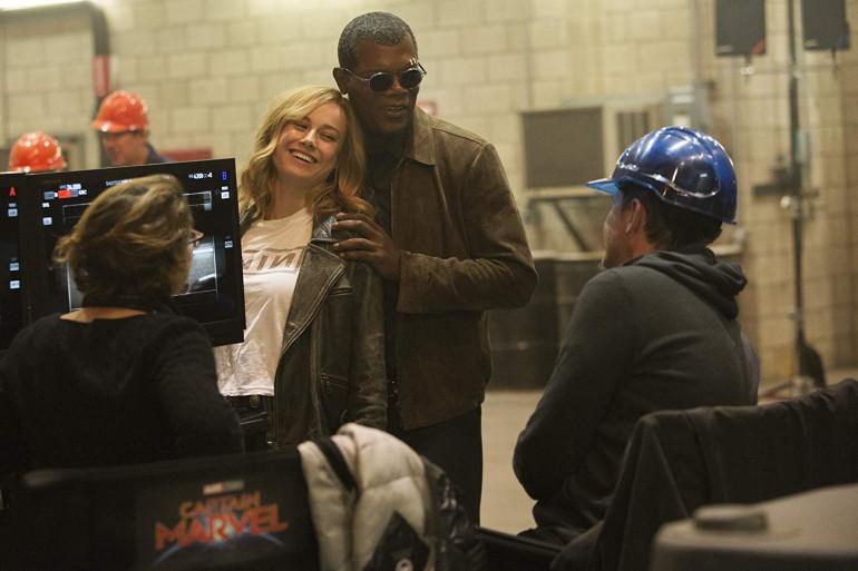 """Brie Larson et Samuel L.Jackson sur le tournage de """"Captain Marvel"""""""