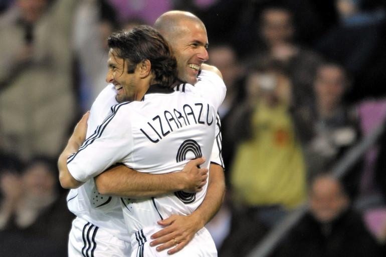 Zinédine Zidane et Bixente Lizarazu à Genève le 21 avril 2008