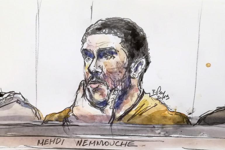 Un dessin de justice représentant Mehdi Nemmouche, réalisé le 10 janvier 2019 lors de son procès.