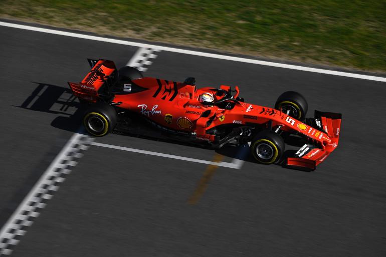 La Ferrari de Sebastian Vettel le 26 février 2019 à Montmelo (Espagne)