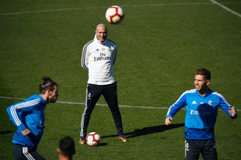Zinédine Zidane à l'entraînement avec le Real le 15 mars 2019