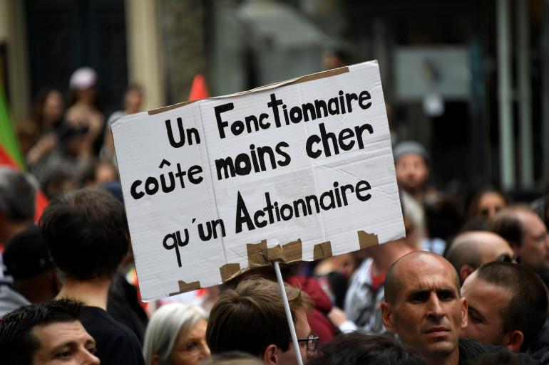 Des fonctionnaires manifestent le 22 mai 2018 à Paris.