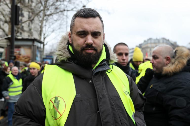 """Eric Drouet, une des figures des """"gilets jaunes"""", à la marche dédiée aux blessés lors des manifestations, le 2 février 2019"""