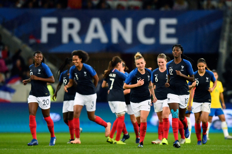 L'équipe de France féminine de football à Nice le 10 novembre 2018