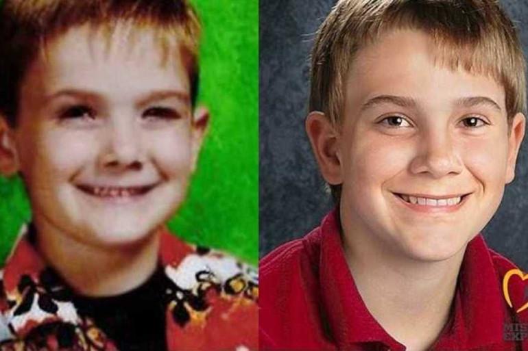 Timmothy Pitzen, au moment de sa disparition il y a 7 ans (à gauche), et un portrait de lui réalisé par ordinateur (à droite)