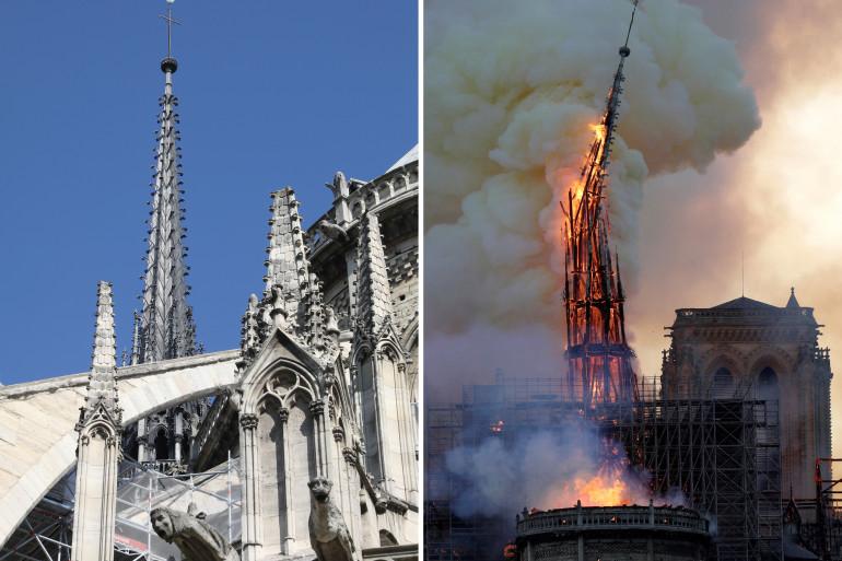 La flèche qui culminait au-dessus de la cathédrale Notre-Dame de Paris s'est effondrée sur elle-même.