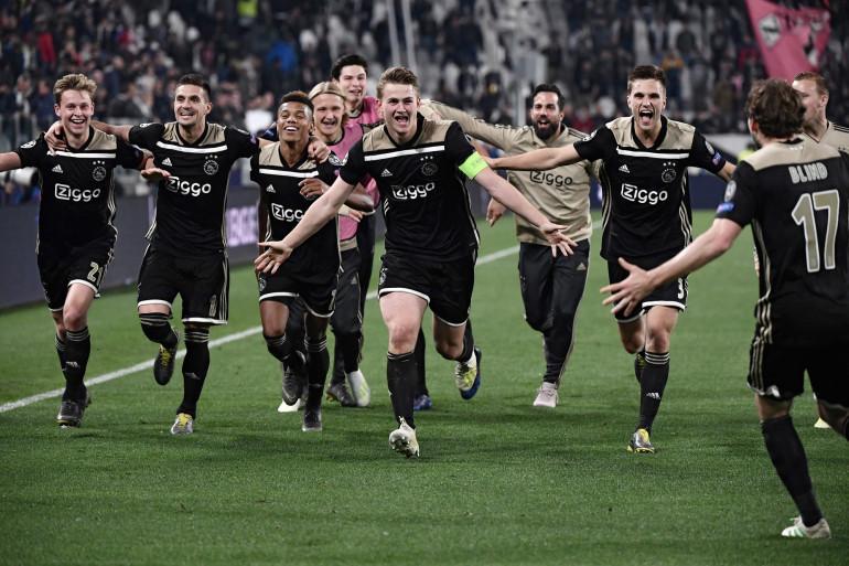 L'Ajax célèbre sa qualification face à la Juve le 16 avril 2019
