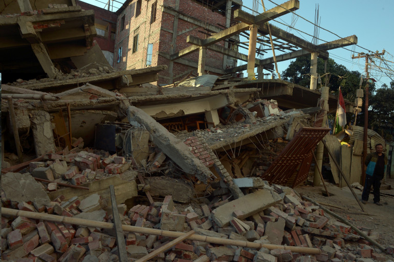 Les dégâts qu'ont provoqué un séisme de 6,7 dans le nord-est de l'Inde, en janvier 2016