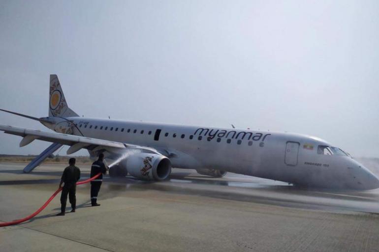 L'avion de la Myanmar Airlines s'est posé sans roues avant, dimanche 12 mai  2019