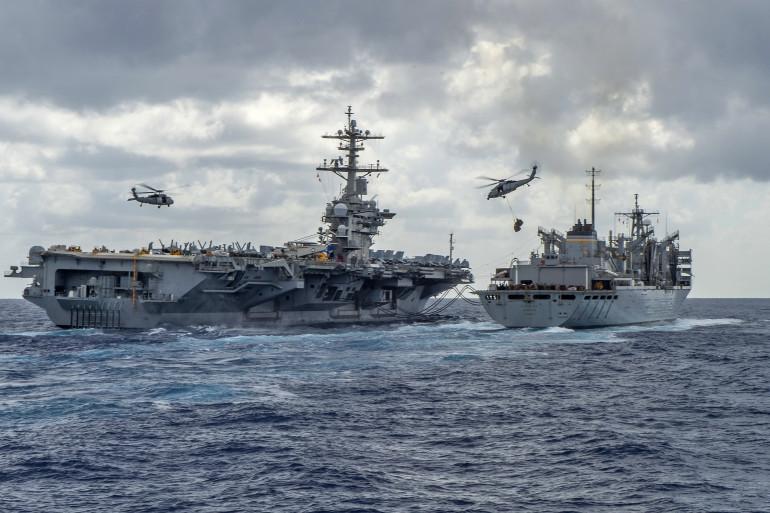 L'armée américaine en pleine mer (illustration)