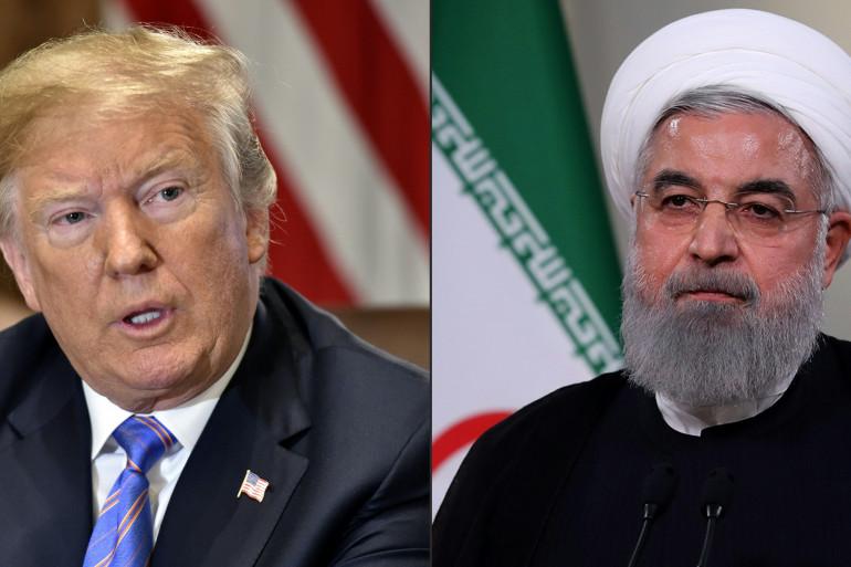 Le président des États-Unis Donald Trump et Hassan Rohani, président de la République islamique d'Iran