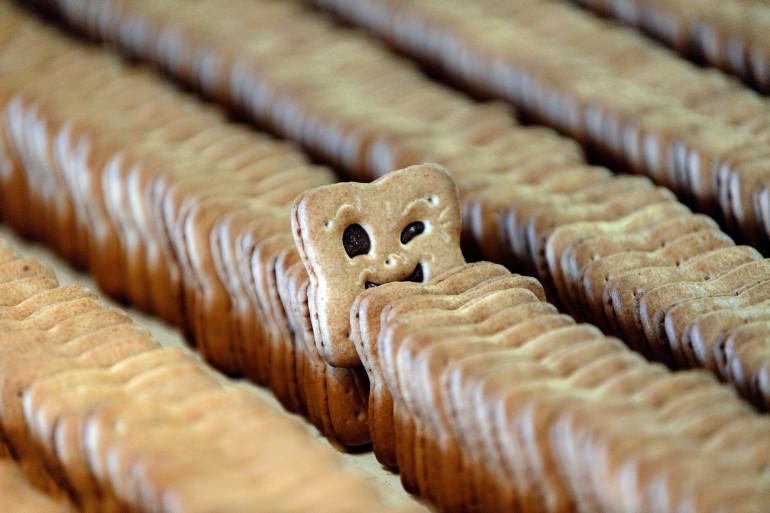 Des biscuits BN sur le point d'être empaquetés à l'usine de Vertou (Loire-Atlantique)