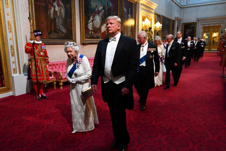 Donald Trump et la Reine Elizabeth, au dîner d'État