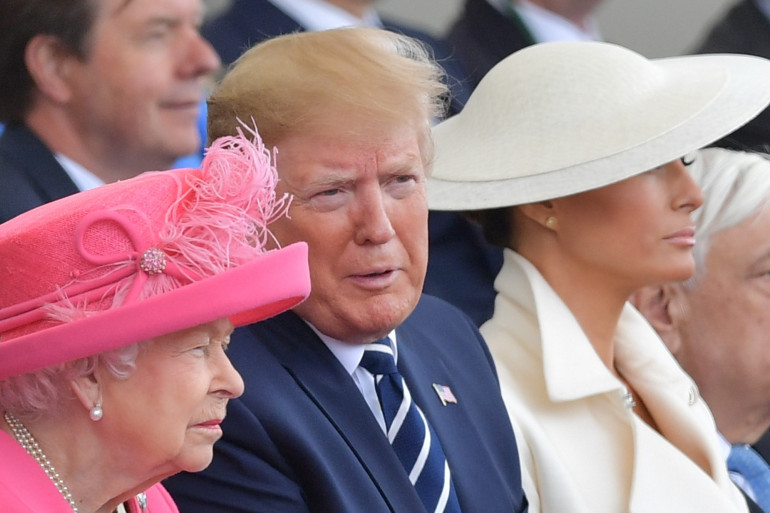 Donald Trump et Élizabeth II le 5 juin 2019, lors des commémorations du 75e anniversaire du Débarquement