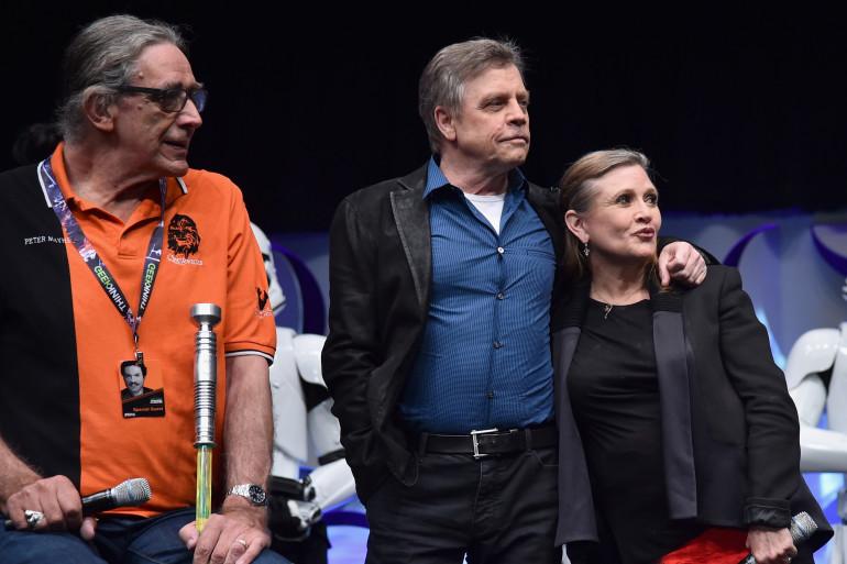 Peter Mayhew, Mark Hamill et Carrie Fisher à la Star Wars Celebration de 2015