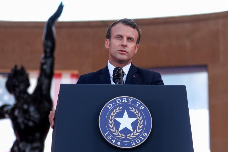 Emmanuel Macron, le 6 juin 2019 au mémorial de Colleville-sur-Mer