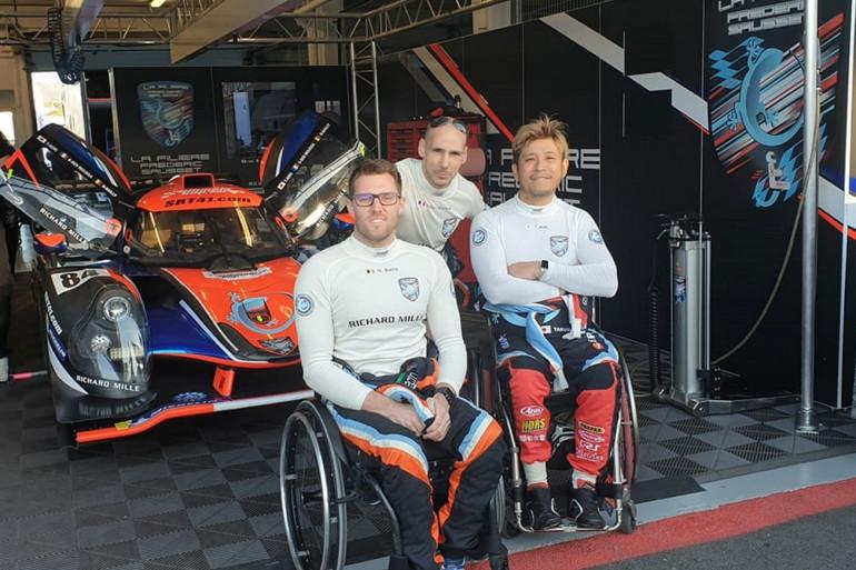 """Le Belge Nigel Bailly, le Français Snoussi Ben Moussa et le Japonais Takuma Aoki, prêts à participer à la course """"Road to le Mans"""""""