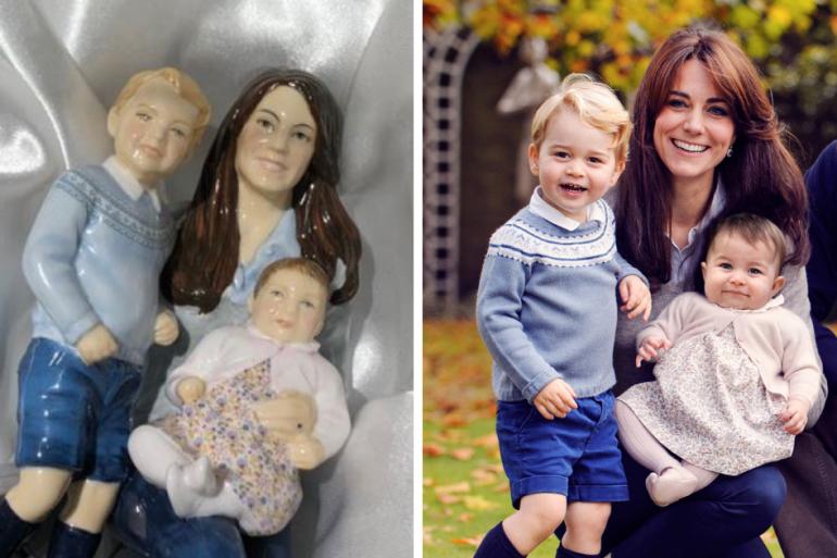 La figurine en porcelaine s'inspire d'une célèbre photo de famille de la duchesse