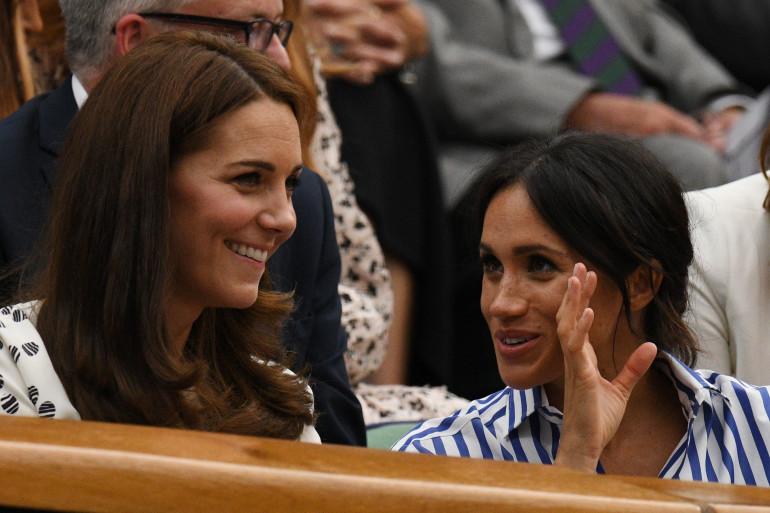 Kate Middleton et Meghan Markle dans le public de Wimbledon en 2018
