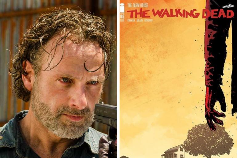 """Rick Grimmes (Andrew Lincoln) et la dernière couverture de """"The Walking Dead"""""""