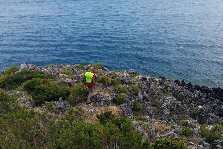 Un sauveteur italien à la recherche de Simon Gautier, le 16 août 2019.