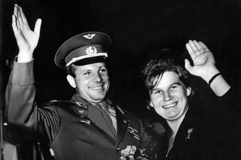 Yuri Gagarin et Valentina Tereshkova