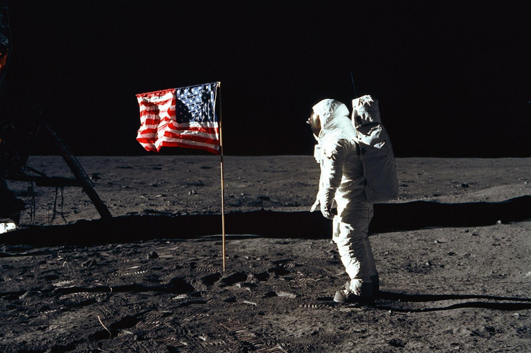 Aldrin sur la Lune au cours de la mission Apollo 11 le 21 juillet 1969