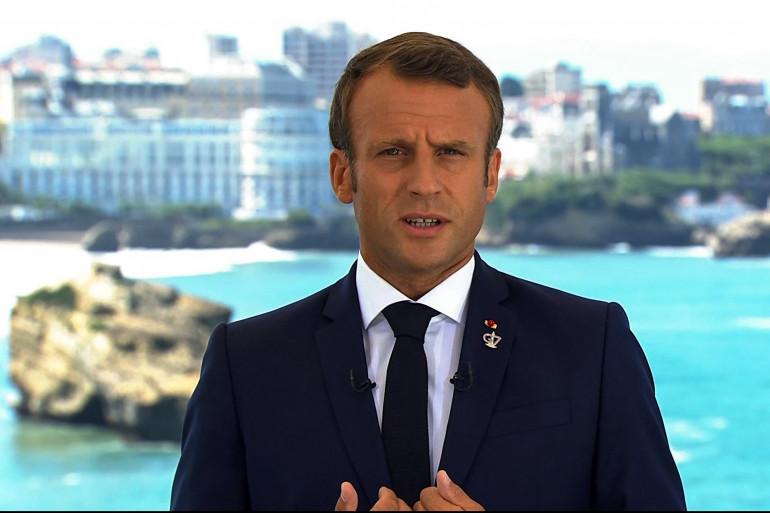 Emmanuel Macron, lors son allocution face aux Français, le 24 août 2019
